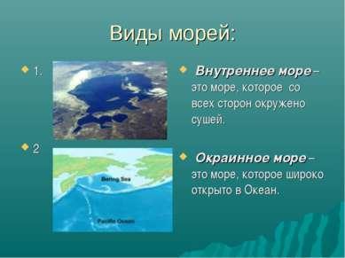 Виды морей: 1. 2 Внутреннее море – это море, которое со всех сторон окружено ...