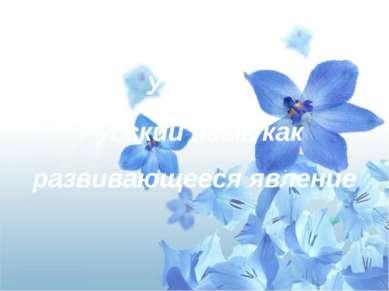 Урок 1. Русский язык как развивающееся явление