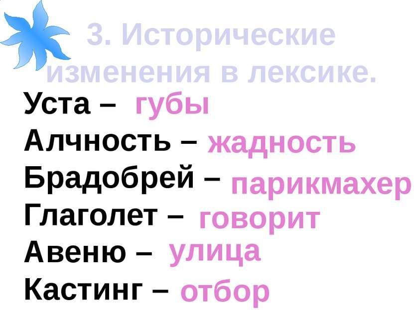 3. Исторические изменения в лексике. Уста – Алчность – Брадобрей – Глаголет –...