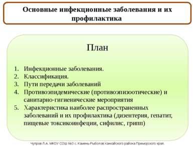 Основные инфекционные заболевания и их профилактика. План Инфекционные заболе...