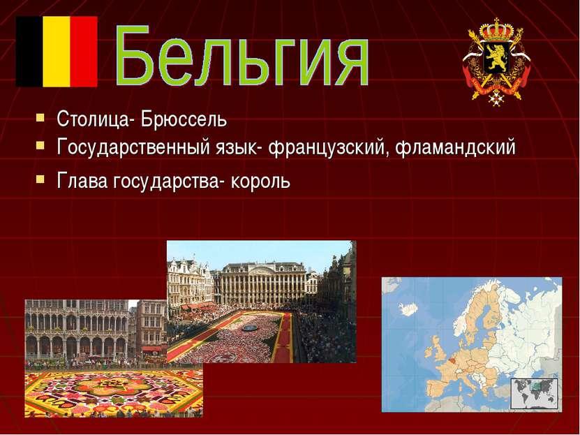 Столица- Брюссель Государственный язык- французский, фламандский Глава госуда...