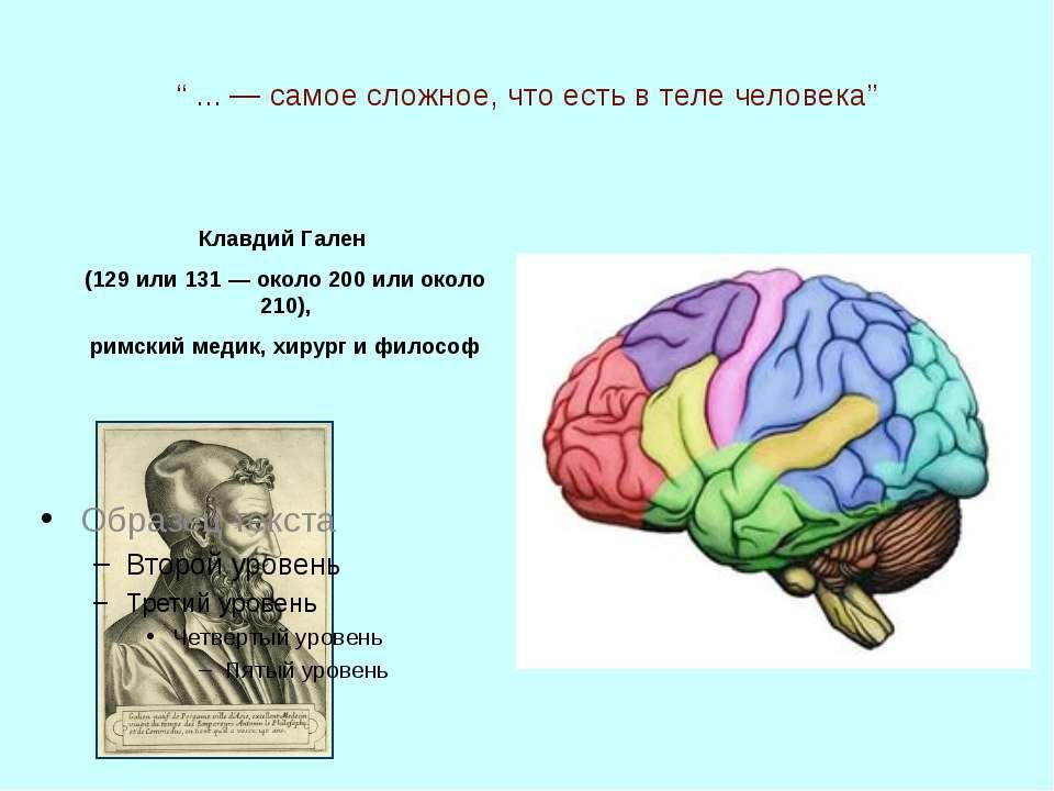 """""""... — самое сложное, что есть втеле человека"""" Клавдий Гален (129 или 131—..."""