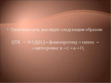 Типичная цепь выглядит следующим образом: ЦТК → НАД(Н2)→флавопротеид→хинон → ...