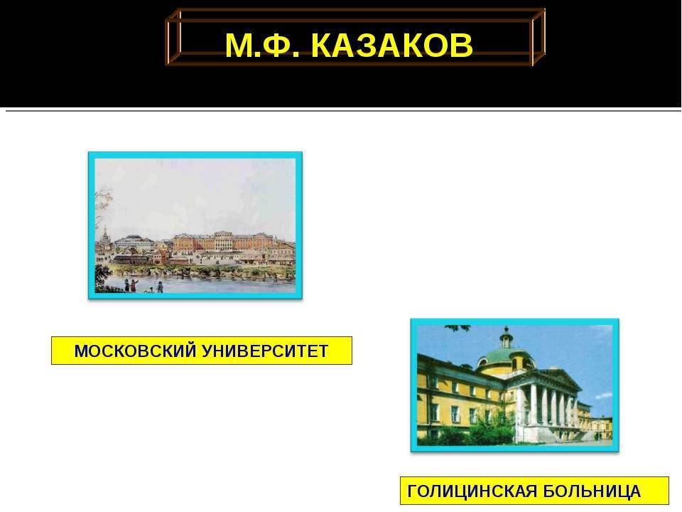 М.Ф. КАЗАКОВ ГОЛИЦИНСКАЯ БОЛЬНИЦА МОСКОВСКИЙ УНИВЕРСИТЕТ