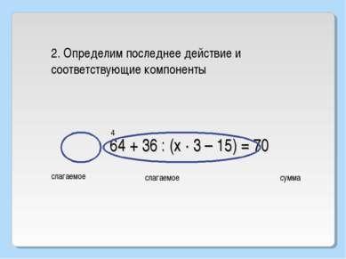 64 + 36 : (х · 3 – 15) = 70 2. Определим последнее действие и соответствующие...