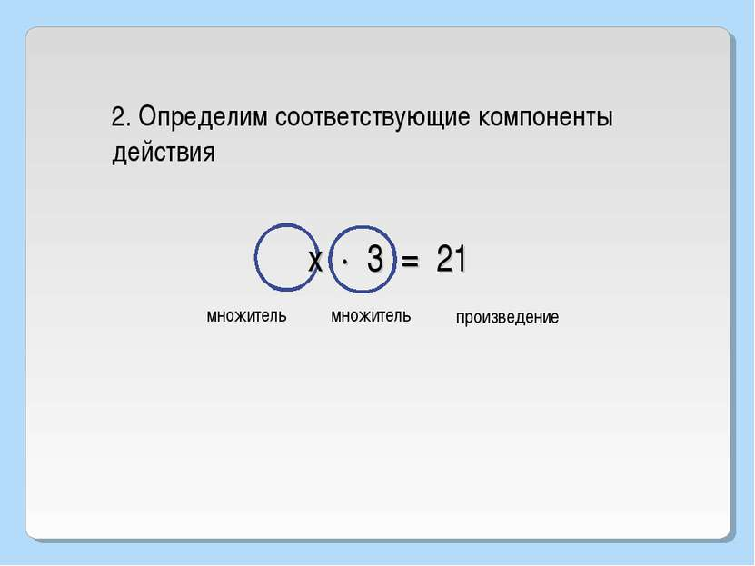 2. Определим соответствующие компоненты действия множитель произведение х · 3...