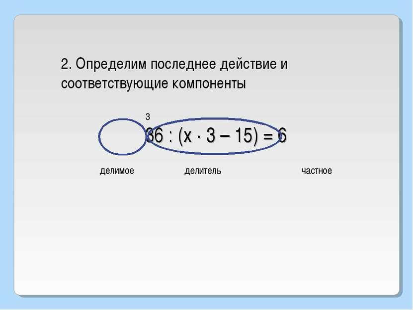 36 : (х · 3 – 15) = 6 3 2. Определим последнее действие и соответствующие ком...