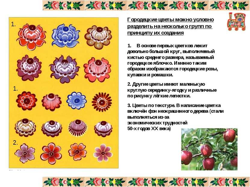 Городецкие цветы можно условно разделить на несколько групп по принципу их со...