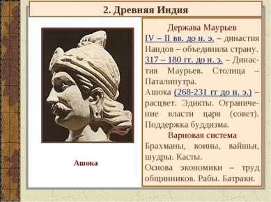 2. Древняя Индия Держава Маурьев IV – II вв. до н. э. – династия Нандов – объ...
