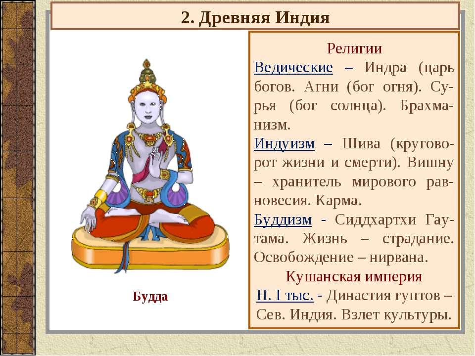 2. Древняя Индия Религии Ведические – Индра (царь богов. Агни (бог огня). Су-...
