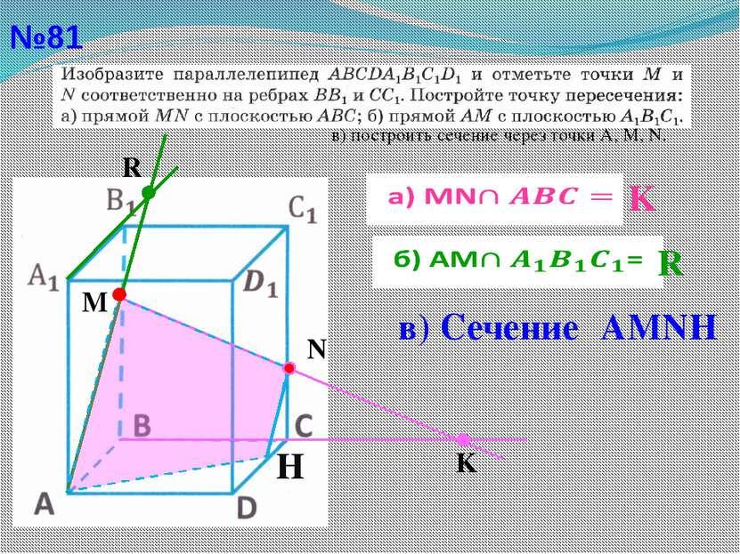 №81 в) построить сечение через точки А, М, N. M R K N  K  R H в) Сечение АMNН