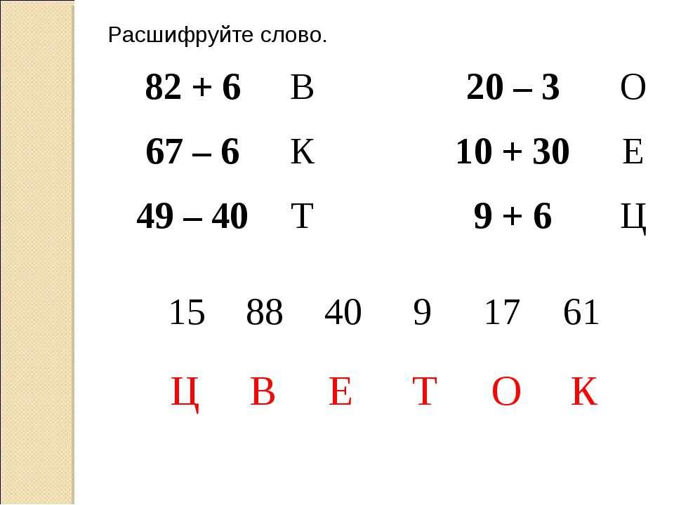 Расшифруйте слово. В К Т О Е Ц 82 + 6 В 20 – 3 О 67 – 6 К 10 + 30 Е 49 – 40 Т...