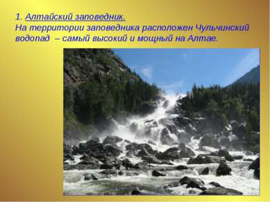 1. Алтайский заповедник. На территории заповедника расположен Чульчинский вод...