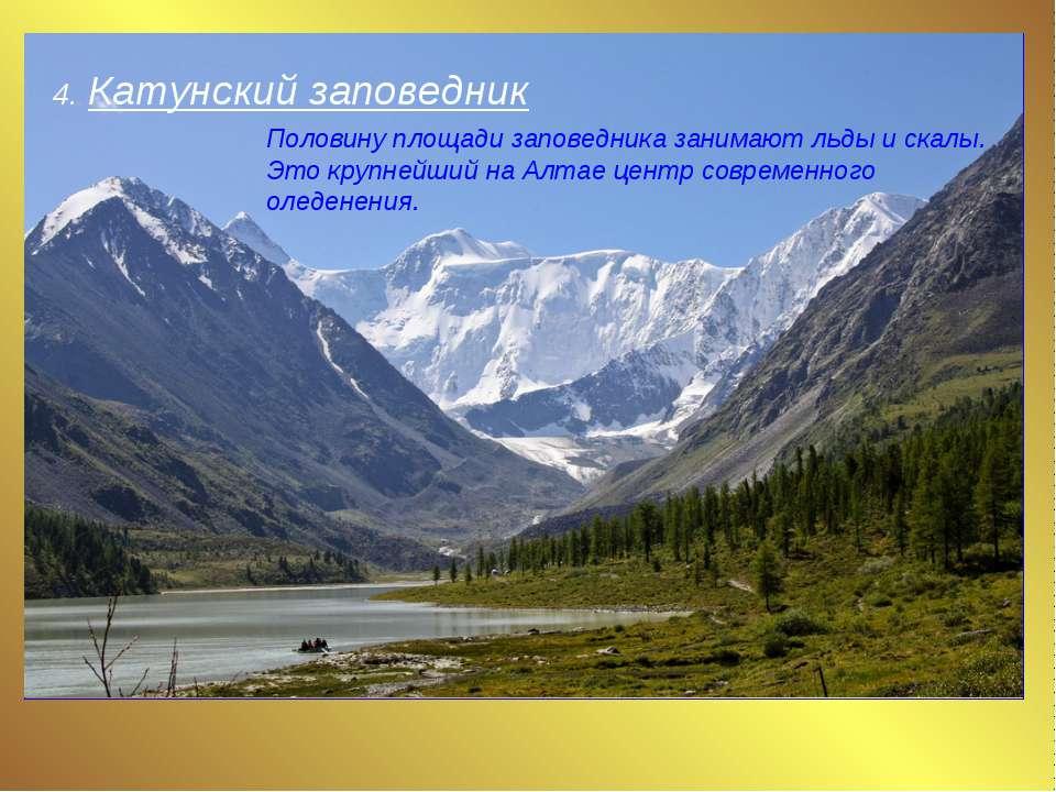 4. Катунский заповедник Половину площади заповедника занимают льды и скалы. Э...