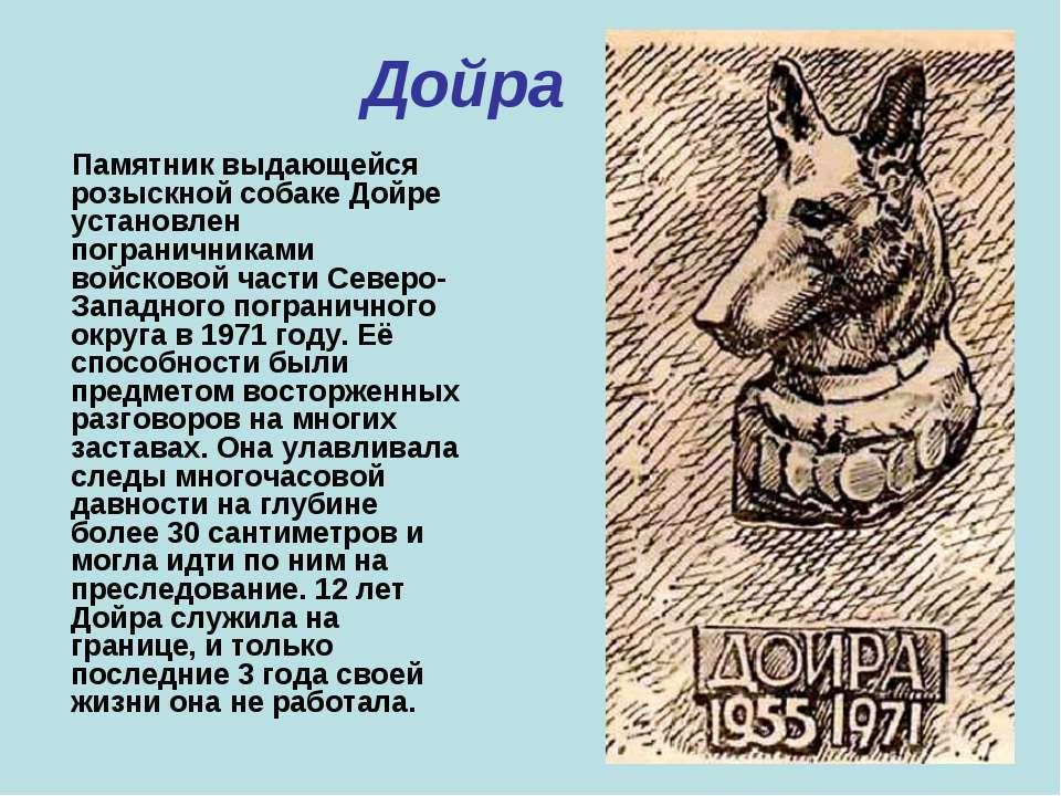 Дойра Памятник выдающейся розыскной собаке Дойре установлен пограничниками во...
