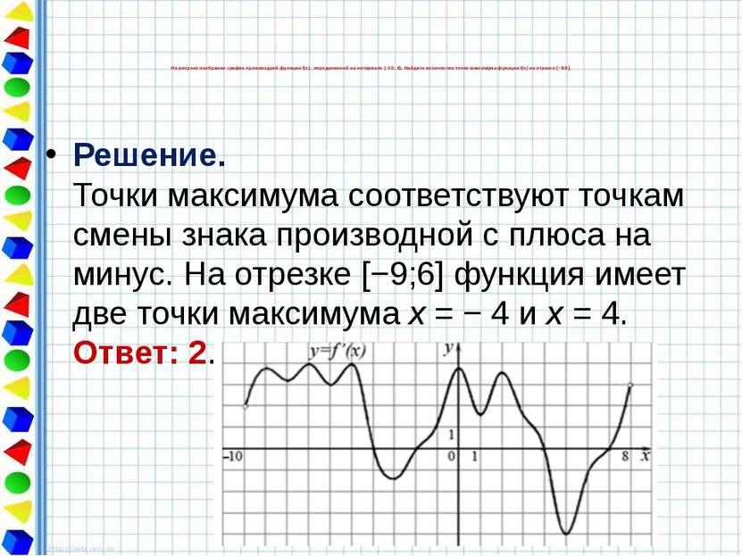 Решение. Точки максимума соответствуют точкам смены знака производной с плюса...