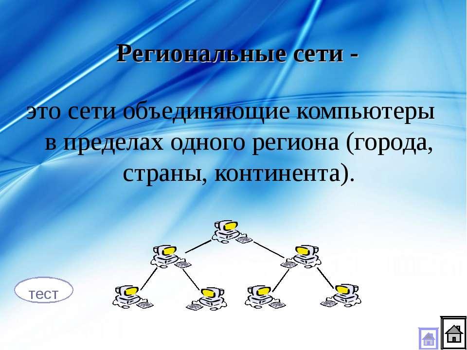 это сети объединяющие компьютеры в пределах одного региона (города, страны, к...