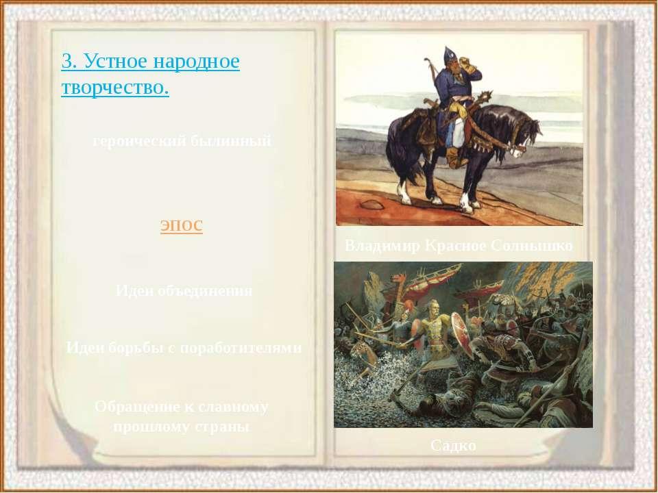 3. Устное народное творчество. героический былинный эпос Владимир Красное Сол...
