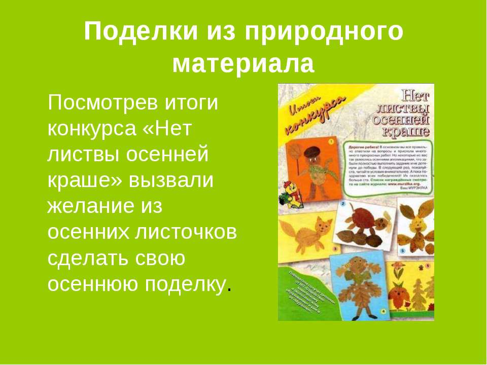 Поделки из природного материала Посмотрев итоги конкурса «Нет листвы осенней ...