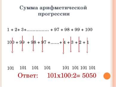 Сумма арифметической прогрессии 1 + 2+ 3+…………… + 97 + 98 + 99 + 100 100 + 99 ...