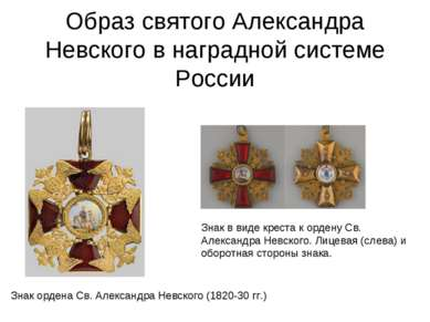 Образ святого Александра Невского в наградной системе России Знак ордена Св. ...