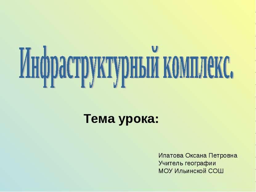Тема урока: Ипатова Оксана Петровна Учитель географии МОУ Ильинской СОШ