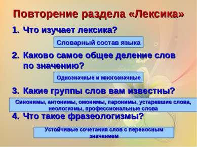 Повторение раздела «Лексика» Что изучает лексика? Каково самое общее деление ...