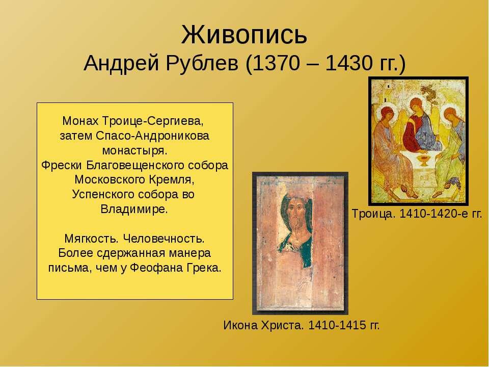Живопись Андрей Рублев (1370 – 1430 гг.) Троица. 1410-1420-е гг. Икона Христа...