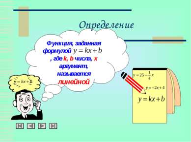 Определение Функция, заданная формулой , где k, b числа, x аргумент, называет...