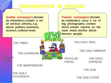 NEWSPAPERS IN BRITAIN QUILITY PRESS THE TIMES THE INDEPENDENT THE GUARDIAN TH...