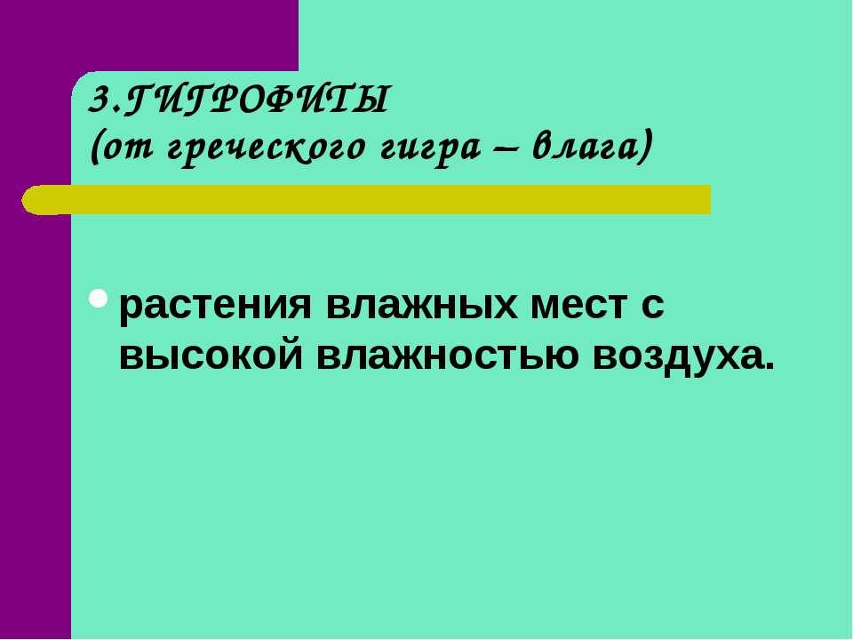 3.ГИГРОФИТЫ (от греческого гигра – влага) растения влажных мест с высокой вла...