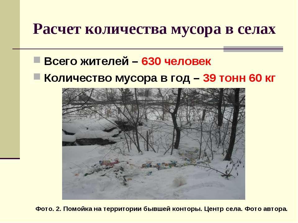 Расчет количества мусора в селах Всего жителей – 630 человек Количество мусор...