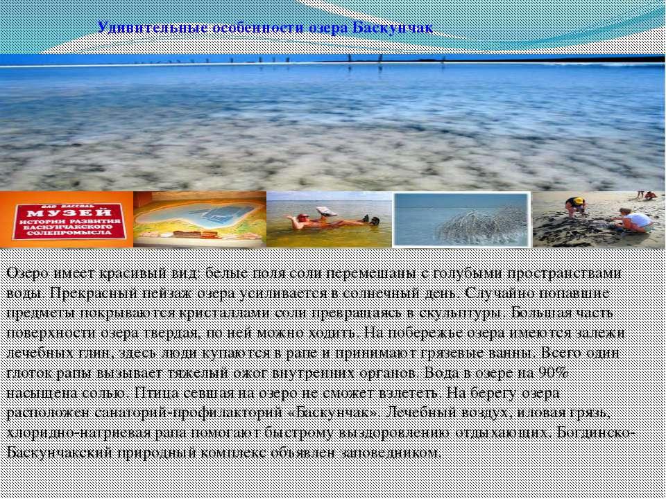 Удивительные особенности озера Баскунчак Озеро имеет красивый вид: белые поля...