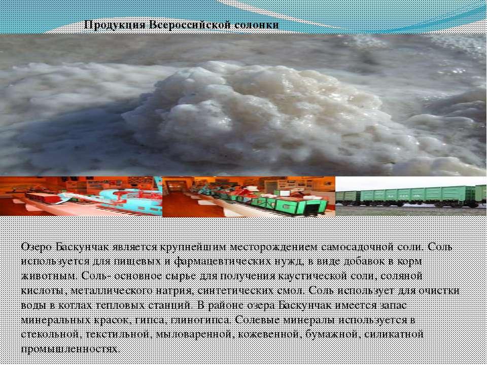 Продукция Всероссийской солонки Озеро Баскунчак является крупнейшим месторожд...