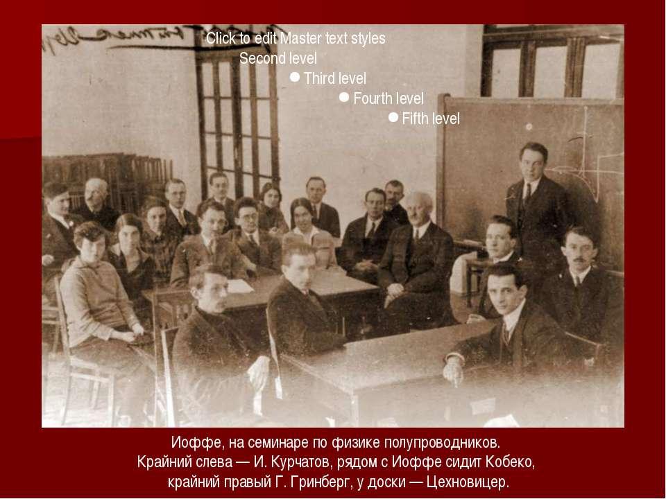 Иоффе, на семинаре по физике полупроводников. Крайний слева — И. Курчатов, ря...