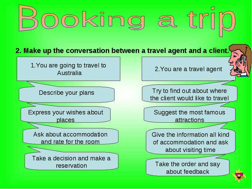 2. Make up the conversation between a travel agent and a client. 1.You are go...