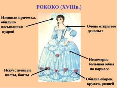 РОКОКО (XVIIIв.) Непомерно большая юбка на каркасе Обилие оборок, кружев, рюш...