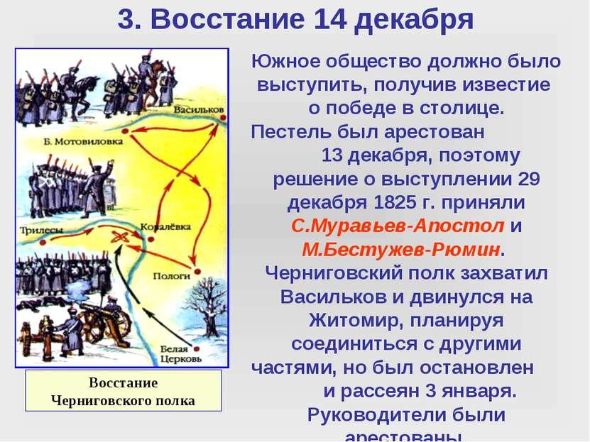 3. Восстание 14 декабря Восстание Черниговского полка Южное общество должно б...