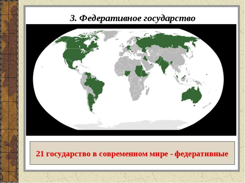 3. Федеративное государство 21 государство в современном мире - федеративные
