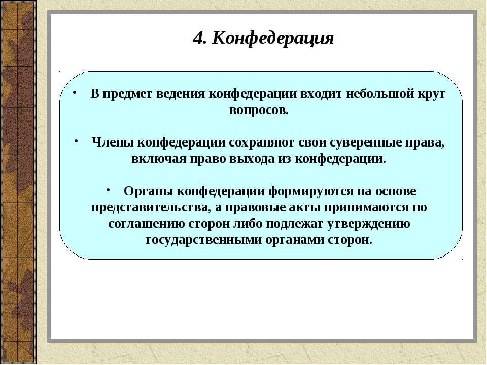 4. Конфедерация В предмет ведения конфедерации входит небольшой круг вопросов...