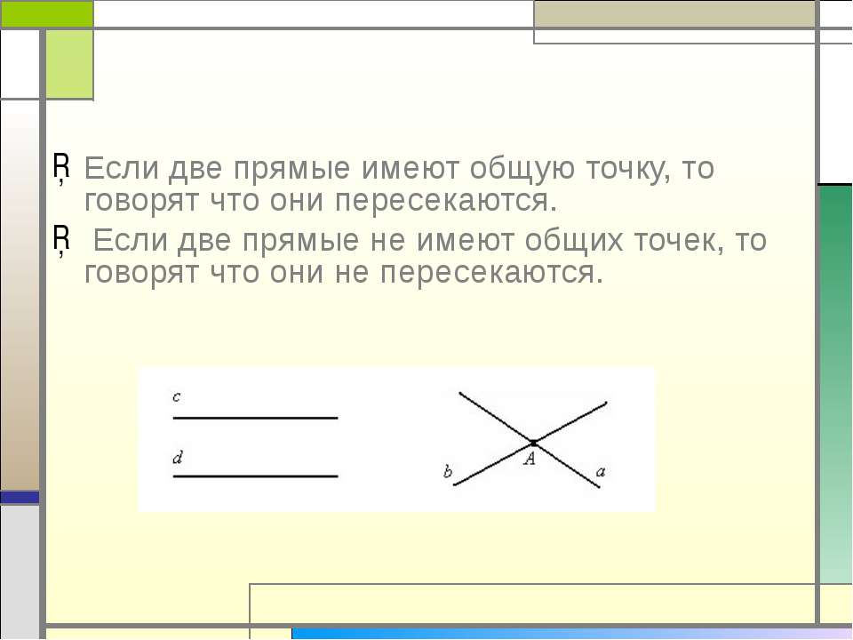 Если две прямые имеют общую точку, то говорят что они пересекаются. Если две ...