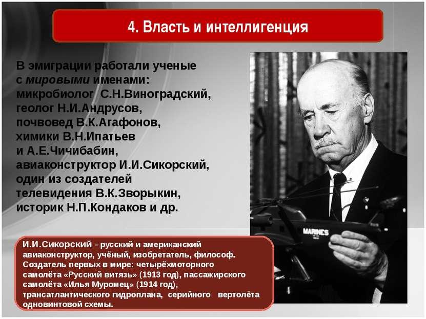 4. Власть и интеллигенция В эмиграции работали ученые с мировыми именами: мик...