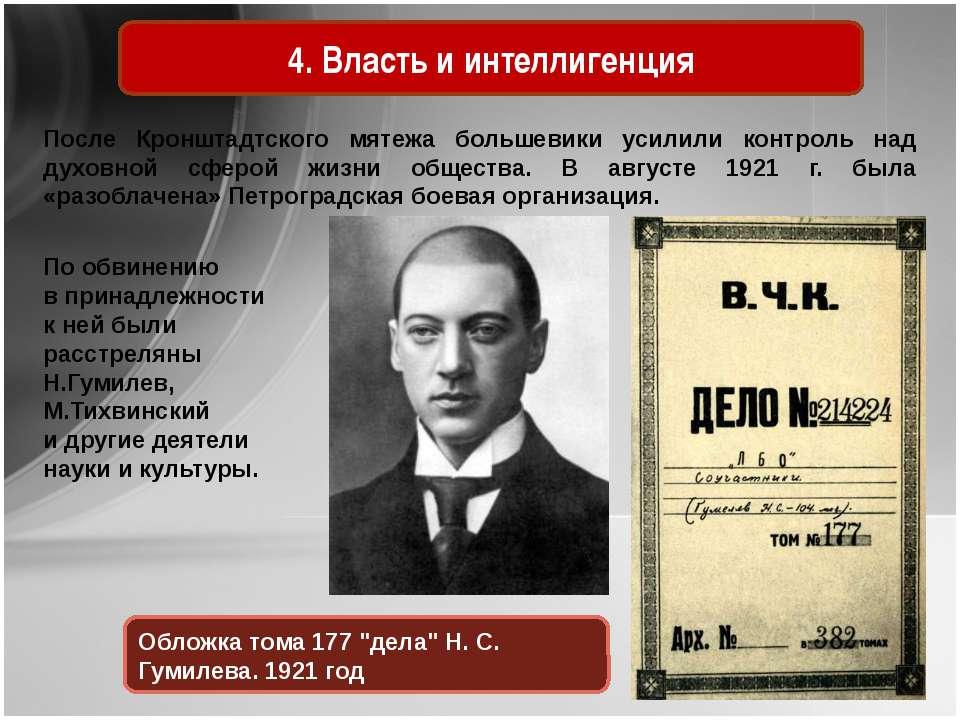 4. Власть и интеллигенция После Кронштадтского мятежа большевики усилили конт...