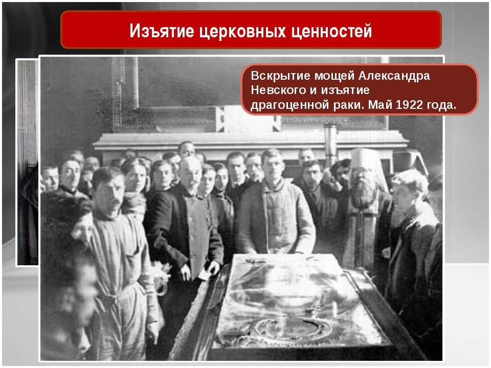 Изъятие церковных ценностей ВскрытиемощейАлександра Невскогои изъятие драг...