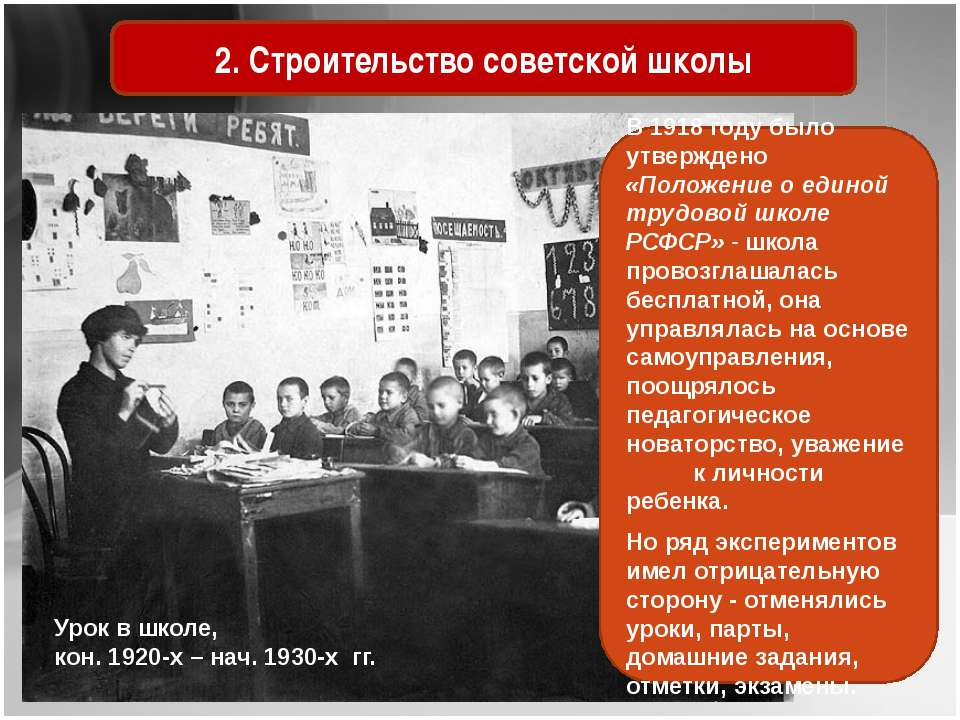 Урок в школе, кон. 1920-х – нач. 1930-х гг. 2. Строительство советской школы ...