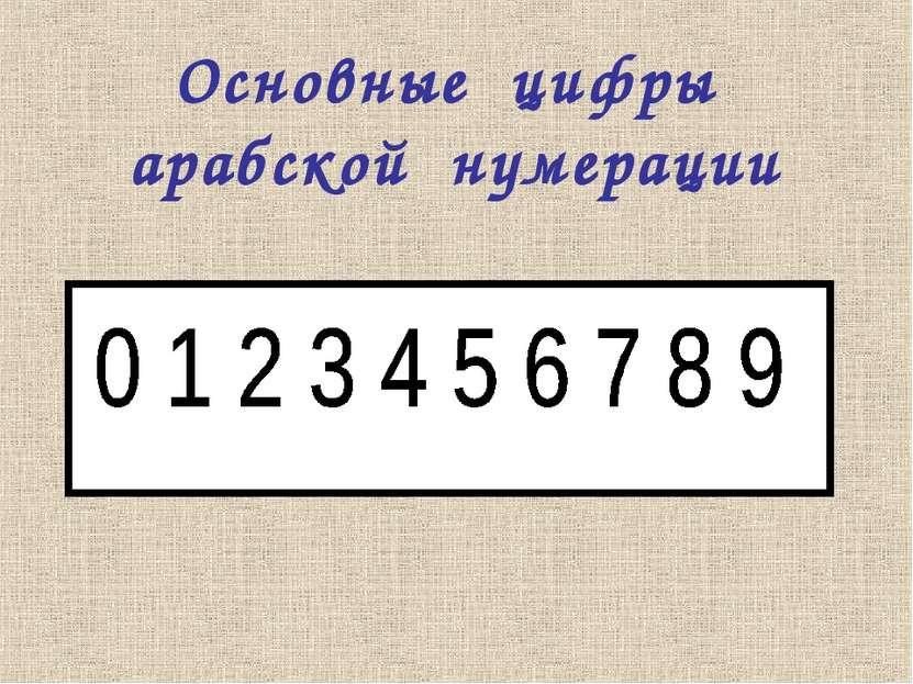 Основные цифры арабской нумерации