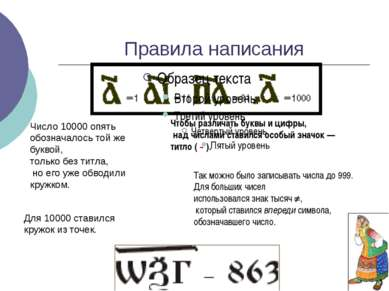 Правила написания Так можно было записывать числа до 999. Для больших чисел и...