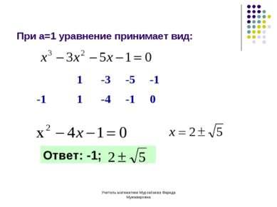 Учитель математики Мурзабаева Фарида Мужавировна При а=1 уравнение принимает ...