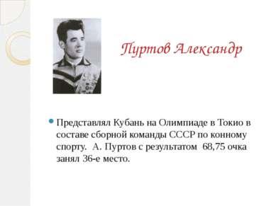 Пуртов Александр  Представлял Кубань на Олимпиаде в Токио в составе сбо...
