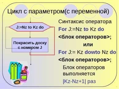 Цикл с параметром(с переменной) Синтаксис оператора For J:=Nz to Kz do ; или ...